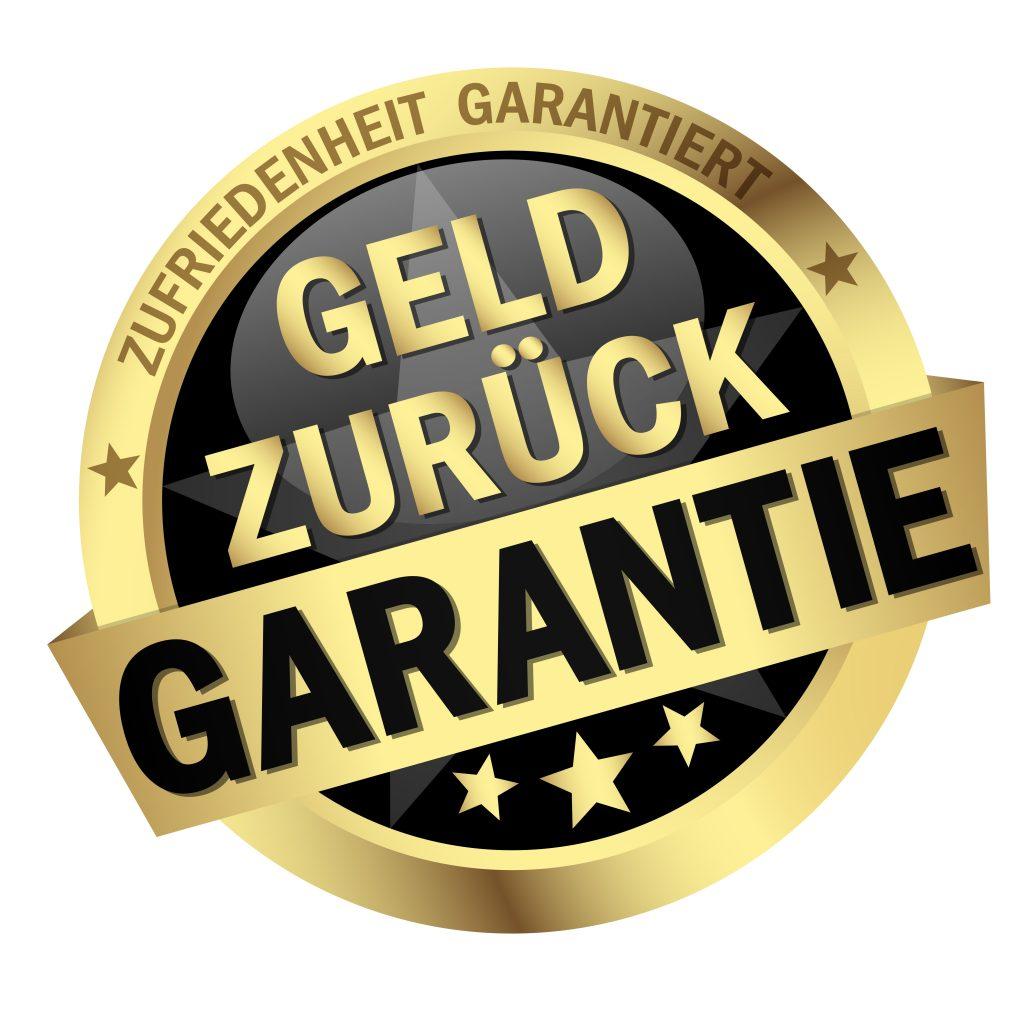 """Goldenes Siegel, in dem groß der Text """"Geld Zurück Garantie"""" steht"""