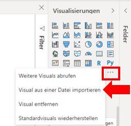 """Roter Pfeil markiert die Option """"Visual aus einer Datei importieren"""" in Power BI Desktop"""