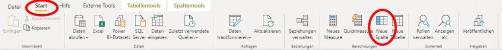 """Menüband von Power BI Desktop. Die Registerkarte """"Start"""" und der Befehl """"Neue Spalte"""" sind rot umkreist."""