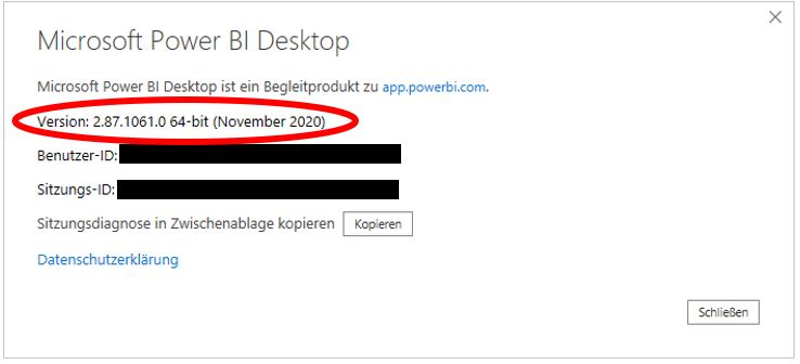 Fenster, das Informationen zur installierten Version von Power BI Desktop zeigt.