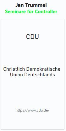 In einem Kasten stehen das Kürzel der Partei, der vollständige Name und der Link zur Webseite (hier: CDU).