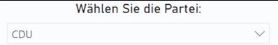 Ein Klappfeld zum Auswählen einer Partei. Vorausgewählt ist die CDU.