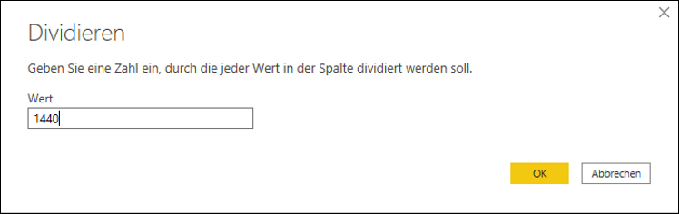 "Das Dialogfeld ""Dividieren"" in Power Query"