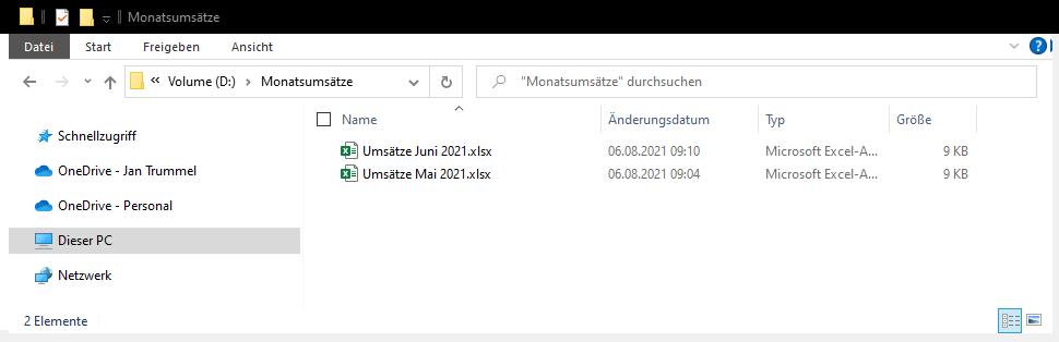 Ein Ordner mit 2 Excel-Dateien darin.