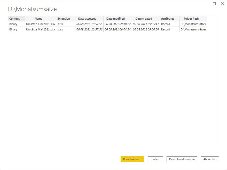 Der Dialog in Power BI zeigt pro Datei in dem Ordner eine Zeile an.