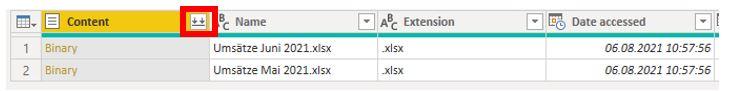 """Tabelle im Power Query-Editor. Die Schaltfläche mit dem Doppelpfeil in der Spalte """"Content"""" ist rot hervorgehoben."""