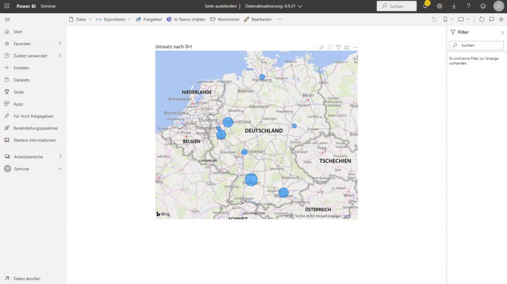 Zeigt eine im Power BI-Dienst veröffentlichte Berichtsseite, auf der eine Landkarte zu sehen ist.