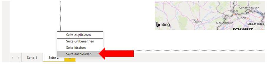 """Zeigt das geöffnete Kontextmenü zu einer Power BI-Berichtsseite. Auf den Befehl """"Seite ausblenden"""" zeigt ein roter Pfeil."""